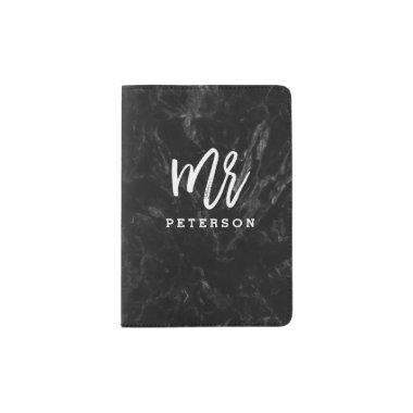 Mr passport white typography black marble passport holder