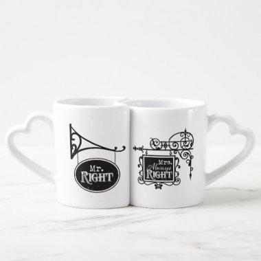 Mr. Right and Mrs. Always Right Wedding Marriage Coffee Mug Set