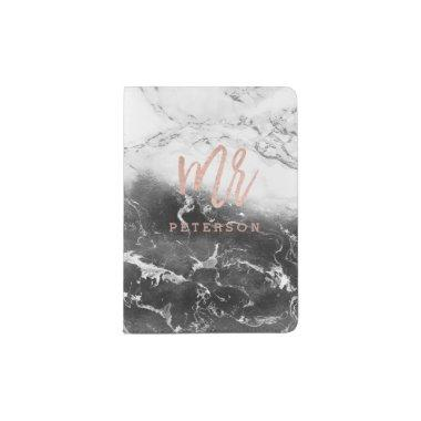 Mr rose gold typography black white marble passport holder