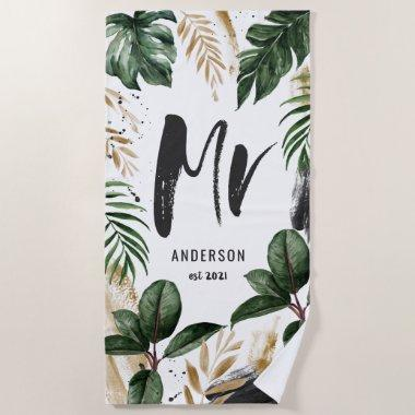 Mr tropical leaf & typography beach towel