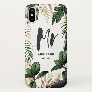 Mr tropical leaf & typography iPhone XS case