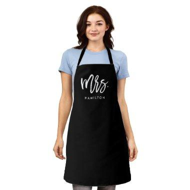 Mrs. Modern Script Personalized Wedding Apron