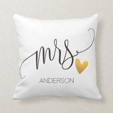Mrs. Mr.& Mrs.  Calligraphy Personlized Wedding-2 Throw Pillow