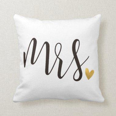 Mrs.|Mr.& Mrs.Wedding Gift Throw Pillow