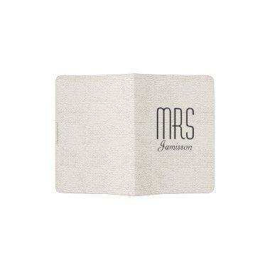 """""""Mrs"""" Passport Holder, Off White Faux Textured Passport Holder"""