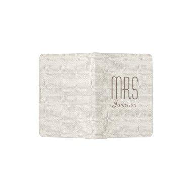 """Mrs"" Passport Holder, Off White, Gold Lettering Passport Holder"