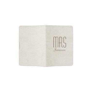 """""""Mrs"""" Passport Holder, Off White, Gold Lettering Passport Holder"""