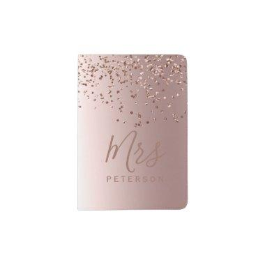 Mrs passport Rose gold confetti metallic foil chic Passport Holder