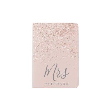 Mrs passport Rose gold glitter blush pink Passport Holder
