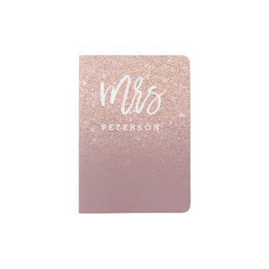 Mrs passport rose gold glitter dusty rose passport holder