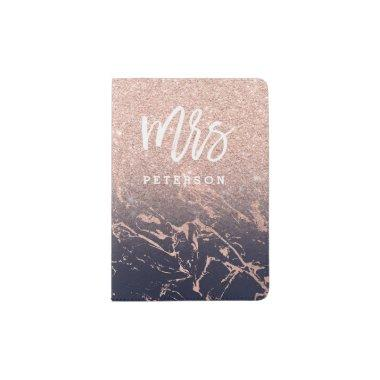 Mrs passport rose gold glitter navy marble passport holder