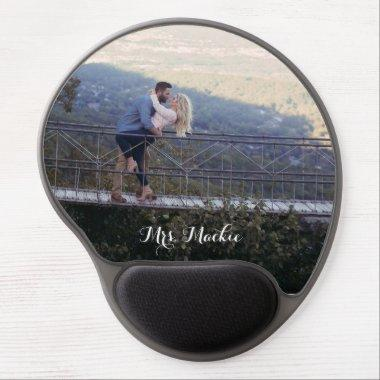 Mrs Photo Girly Modern Chic Wedding Gel Mouse Pad
