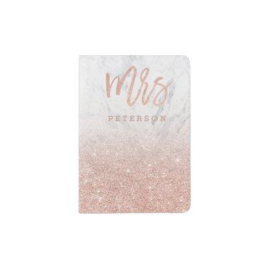 Mrs rose gold glitter typography white marble passport holder