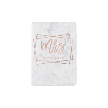 Mrs rose gold typography geometric white marble passport holder
