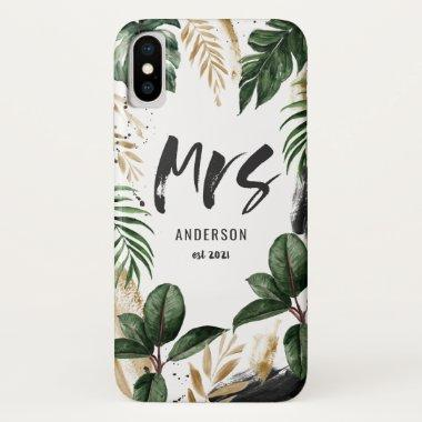 Mrs tropical leaf & typography iPhone XS case
