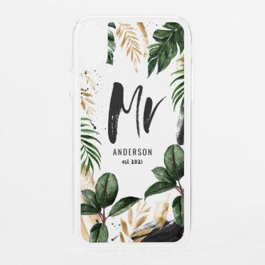 Mrs tropical leaf & typography iPhone XR case