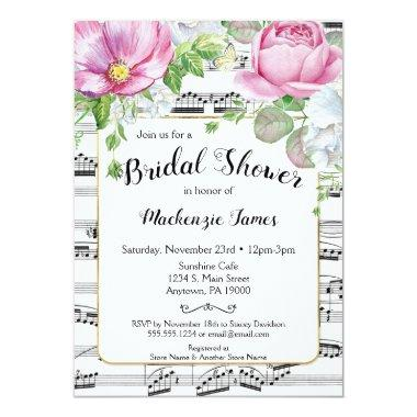 Music Floral Bridal Shower Invitations Pink White