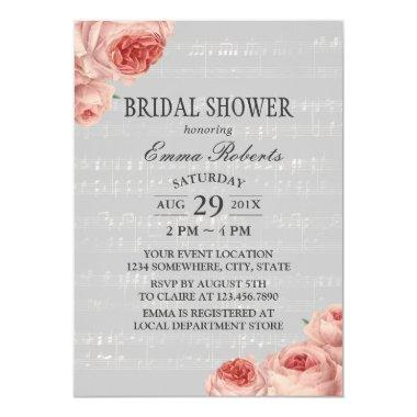 Musical Bridal Shower Elegant Floral Invitations