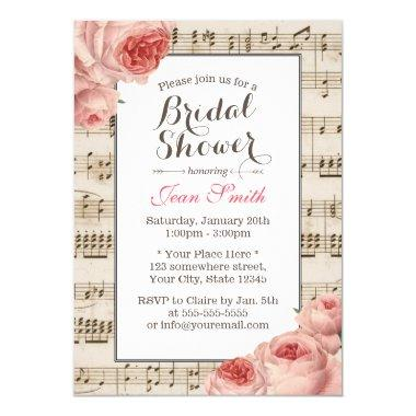 Musical Bridal Shower Vintage Pink Floral Elegant Invitations