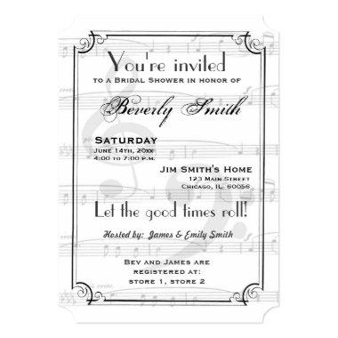 Musical theme bridal shower Invitations