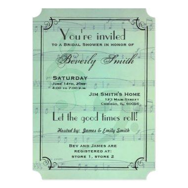Musical theme bridal shower - mint green Invitations