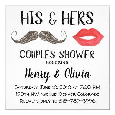Mustache and Lips Couples Shower Invitations