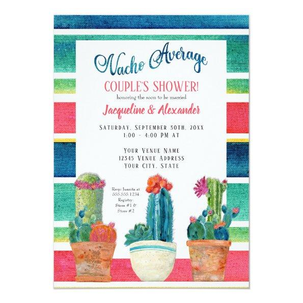 feda907f0e9  2.16 Nacho Average Couples Shower Floral Desert Cactus Invitations