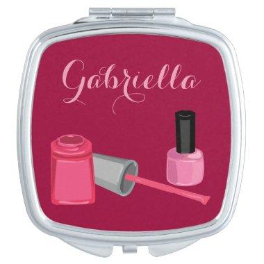 Nail Polish with Customizable Name Mirror Compact