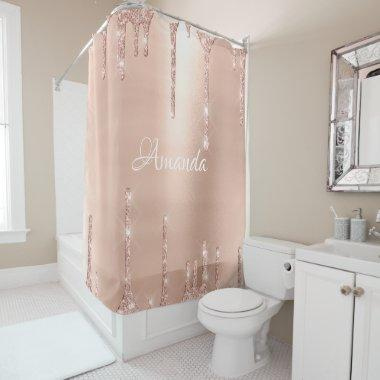 Name Sparkly Glitter Drips Blush Rose Gold White Shower Curtain
