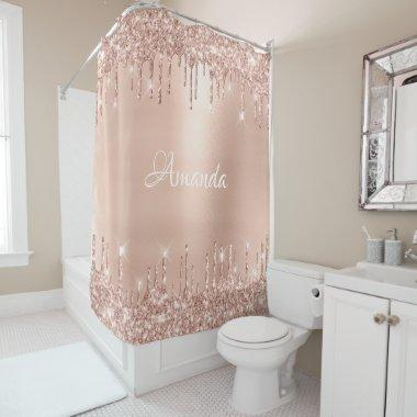Name Sparkly Glitter Drips Pink Rose Gold White Shower Curtain