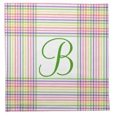 Napkins - Cloth - Monogram on Checks and Lines