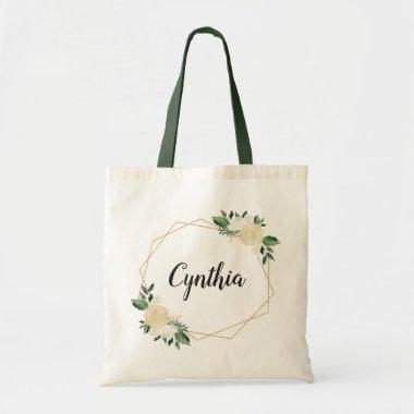 7739c12f73d5 Nature Green Ivory Gold Watercolor Floral Tote Bag