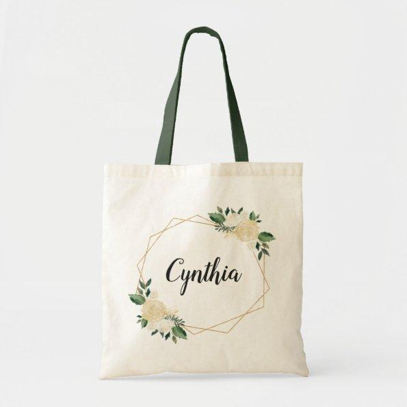 Nature Green Ivory Gold Watercolor Floral Tote Bag