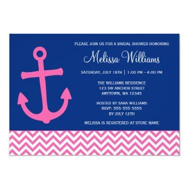 Nautical Anchor Chevron Blue Pink