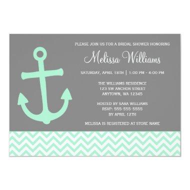 Nautical Anchor Chevron Mint Gray