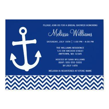 Nautical Anchor Chevron Navy Blue