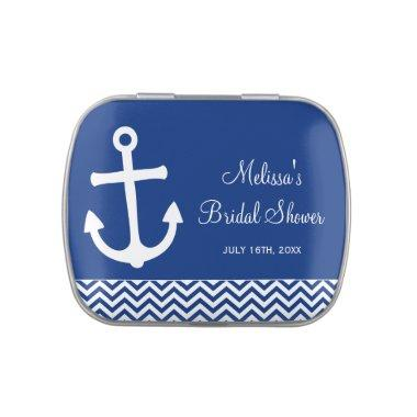 Nautical Anchor Chevron Navy Blue  Jelly Belly Tin