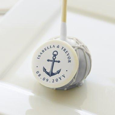 Nautical Anchor Custom White and Navy Cake Pops