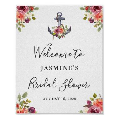 Nautical Anchor Floral  Welcome Sign