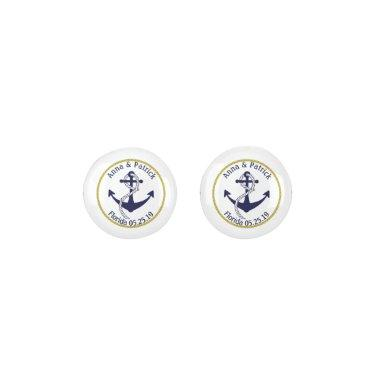 Nautical Anchor W/Rope Personalized Bride's Gift Earrings