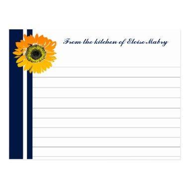 Nautical Blue Sunflower Personalized Recipe Invitations
