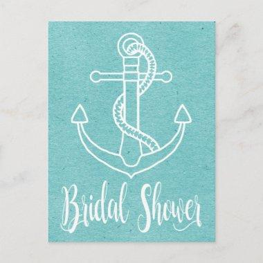 Nautical Blue White Bridal Shower Ship Anchor Invitation PostInvitations