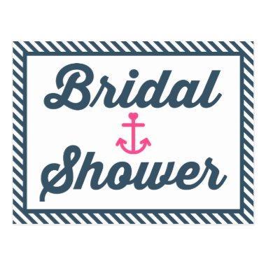 Nautical Bridal Shower Blue Stripe Invitation PostInvitations