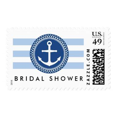 Nautical bridal shower postage, anchor and stripes postage