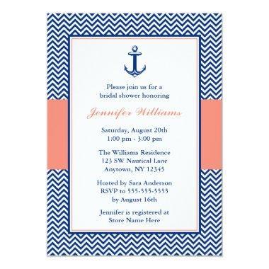 Nautical Chevron Anchor Blue Coral Bridal Shower Invitations