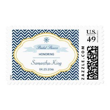 Nautical chevron navy gold  stamps