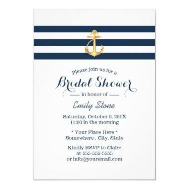 Nautical Gold Anchor Navy Stripes Bridal Shower Invitations