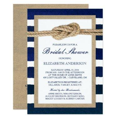 Nautical Knot Navy Stripes Rustic