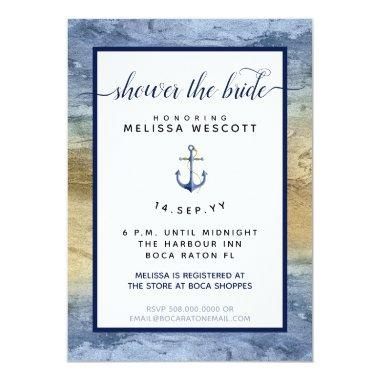 Nautical Navy Blue & Gold Watercolor Bridal Shower Invitations