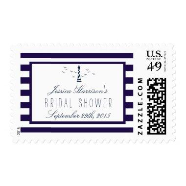 Nautical Navy Stripe Lighthouse  Postage